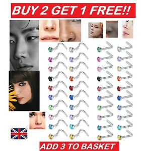 Nose Studs Surgical Steel Screw Nose Stud L Straight Piercing Ring Pin Gem Stud