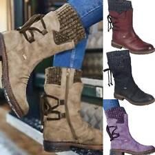 Women Patchwork Mid Calf Fur Ladies Warm Grip Sole Snow Boots Winter Shoes Size