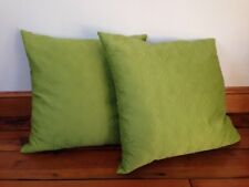 Pair 2 Green Floral Damask Arabesqe Embroidered Goose Down Throw Pillows 19x19