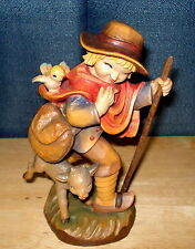 Anri Wood Carving Ferrandiz Boy with Lamb Bird Sachel Spreading the Word