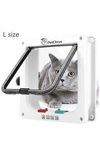 """PetCitrus Cat Door - Large (Outer Size 9.2"""" X 9.8"""") 4 Way Locking"""