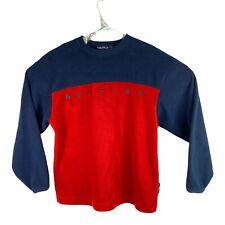 Vintage Nautica Nautech Fleece Men's Sz Medium Blue Red Pullover Sweater USA 90s