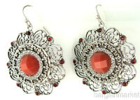 Vintage Style Silver EP Coral Colored Dangle Filigree Earrings