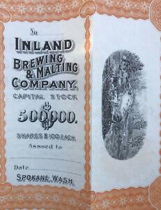 1900's Inland Brewing & Malting Co. Spokane, WA Beer Stock Certificate