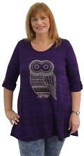 Womens Curve Ladies Plus Size 3/4 Sleeve Studded Diamante Embellished Owl Top