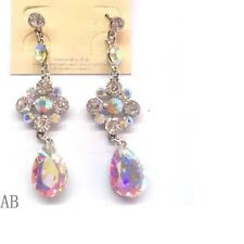 "3"" Long Silver Tone AB and Clear Rhinestone Teardrop Chandelier Earrings"