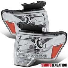 For 2009-2014 Ford F-150 Clear Projector Headlights Lamps Pair w/ LED DRL Strip