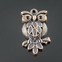 30pcs Vintage Red Tone Alloy Cute Owl Lovely Pendant Finding Charm 32074