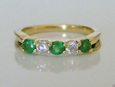14 Carat Yellow Gold Emerald Eternity Fine Rings
