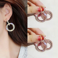 Round Cut CZ Crystal Round Stud Earrings Silver Rose Gold Plated Wedding Jewelry