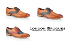 London Brogues Tommy Multi Tone Mens Leather Wingtip Brogues Smart Formal Shoes