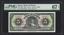 MEXICO 5 Pesos 1963, P-60h, PMG 67 EPQ, Superb Gem UNC, Scarce Grade Pretty Type