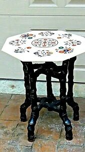 ANTIQUE MARVELOUS MARBLE PIETRA DURA INLAY ART TABLE TOP WITH STAND