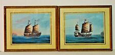 More details for  pair chinese trade export paintings old original paintings junks sailing ships