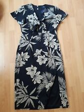 Polo Ralph Lauren Black Brown linen blend Floral Print Midi Sheath Dress 12-14