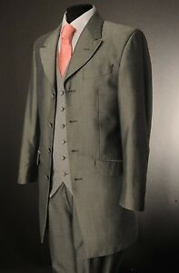 MEN'S SILVER MOHAIR TWO PIECE FORMAL PRINCE EDWARD FORMAL WEDDING SUIT MJ-207