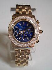 Men's Hip Hop Bling Lab Diamond Luxury Dress Gold Finish Blue Dial Fashion Watch