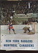 Jan 8 1967 NHL Hockey Program Montreal Canadiens at New York Rangers EXMT