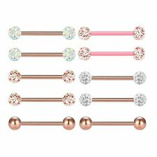 10pcs 14G Surgical Steel Nipple Barbells Tongue Rings Body Piercing Jewelry 16mm