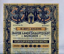 8-20% Anleihe der Bayer. Landeshauptstadt München, 1923 (50.000 Mark) + Coupons
