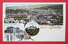 Litho AK WINTERTHUR Schweiz 1911 Bahnhof, Kyburg und Ortsansicht  ( 28210