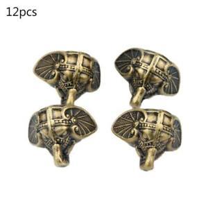 12pcs Antique Elephant Vintage Jewelry Chest Box Wooden Case Feet Leg Protector