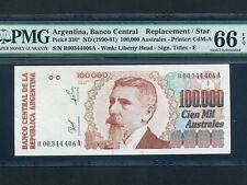 Argentina:P-336,100000 Australes,1990-1 * Replacement * PMG Gem UNC 66 EPQ *