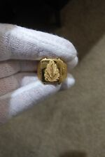 22 Carat GOLD RING Chinar / Sycamore / Oriental Plane Leaf Handmade HALLMARK KDM