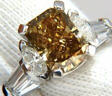 $130,000 GIA 4.12ct. radiant fancy brown green yellow diamonds platinum ring