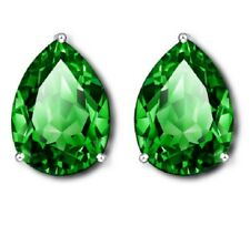 Faux Emerald Green Paste Teardrop Crystal PEAR Silver Clipon Clip on Earrings UK