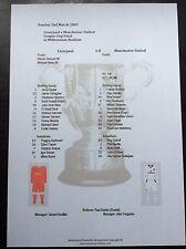 2002-03 League Cup Final Liverpool v Manchester United matchsheet