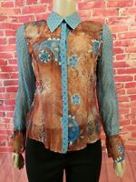BIBA Women's wrinkled Multicolor Tunic Top Lightweight 100% Viscose Size 34