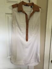 Ted Baker White Tunic Shirt Dress With Camel Accent Gold Buttons