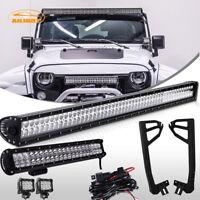 """Jeep Wrangler JK 52"""" 300W LED Light Bar+Mounting Bracket+20"""" 126W+2x 4"""" 18W Lamp"""