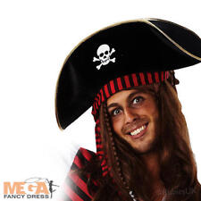 Mens Caribbean Pirate Skull Hat Buccaneer Fancy Dress Adults Book Character Hat