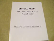 Bayliner 185 195 205 225 Owner's Manual Supplement 1786916 VGC
