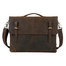 """Men's Real Leather Messenger Shoulder Bag 15"""" Laptop Briefcase Business Satchel"""