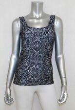WHITE HOUSE BLACK MARKET Black/Gray Print Sleeveless Scoop Neck Tank Shirt sz XS