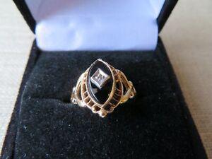 PSCO Vintage 10k Solid Yellow White Gold Onyx Diamond Ring Size 6  - 2.44 Grams