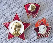 1955y RUSSIAN SOVIET BOY SCOUT K.G.B YOUNG PIONEER OKTYABR LENIN STAR BANNER PIN