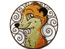 Meerkat Smiling Head Applique Embroidered Iron On Patch 3.88 Inches Round
