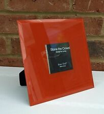 "Square Photo Frame Orange Tangerine Wall or Table Modern Chic 3x3"" Glass New"