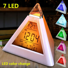 Digital Pyramid LCD Alarm Clock 7 LED Color Changing Desk Bed Thermometer Light