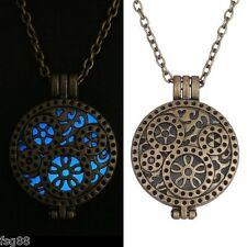 New Glow in the Dark Steampunk Gear Metal Chain Locket Necklace Pendant