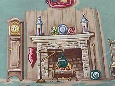 SALE! Cozy Home Primitive Life Barkcloth Era Vintage Fabric Seafoam Green 1930's