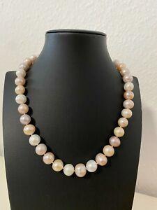 Süßwasserzuchtperlen multi 10-12,5mm Perlen Collier Kette Länge 46cm 925S Magnet