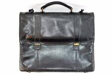 Vintage Black Leather Briefcase Attache / Messenger Bag