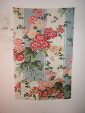 "Lee Jofa ""Lavinia Print"" floral stripe fabric remnant color blue stripe"