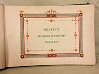 1st Ed Antique Book Ornamente aller Klassischen Kunstepochen nach 1843 by W Zahn