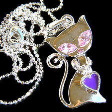 w Swarovski Crystal Purple KITTY CAT Kitten Heart charm Pendant Necklace Jewelry